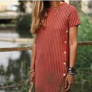Zara side button striped multicolor maxi dress S